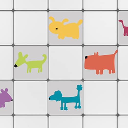 Stickers adhésif rose Funny Dogs décoration de carrelage blanc de cuisine