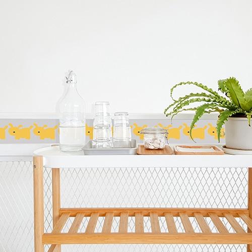 Stickers adhésif jaune Funny dogs pour carrelage décoration intérieure de salle à manger