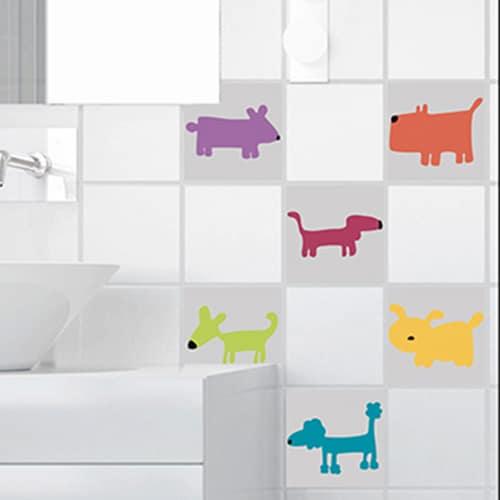 Stickers autocollant jaune Funny dogs pour décoration carrelage de salle de bain