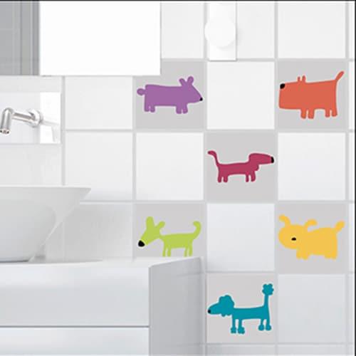 Adhésif orange décoration d'intérieur pour carrelage Funny Dogs pour salle de bain