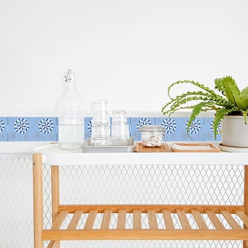 Adhésif pour décoration d'intérieur pour carrelage Neige bleu dans une salle à manger