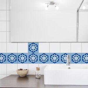 Autocollant Neige bleu décoration pour carrelage de salle de bain moderne