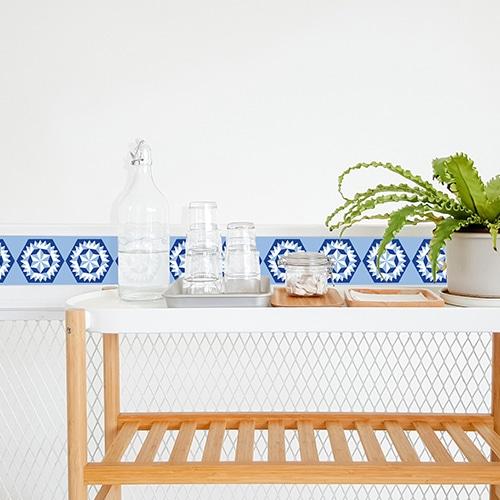 Stickers adhésif bleu déco d'intérieur Neige pour carrelage de salle à manger