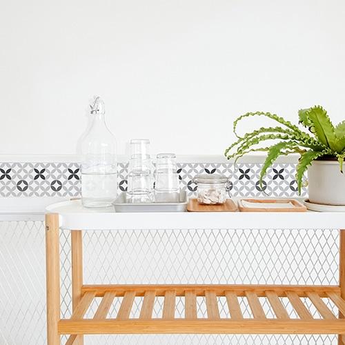Sticker adhésif décoration d'intérieur céramique noir et blanc pour carrelage de salle à manger