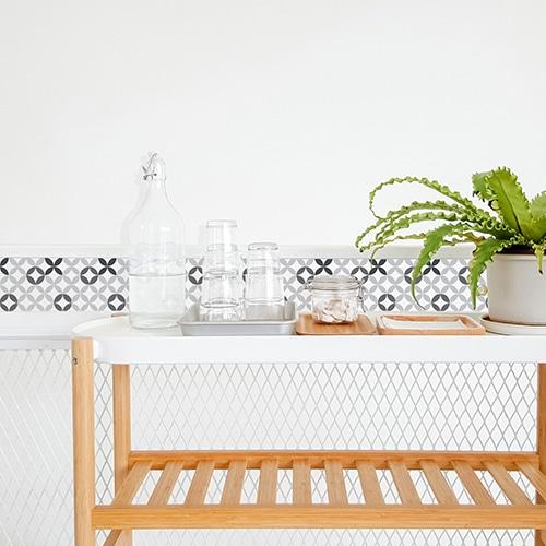 Stickers autocollant décoration d'intérieur céramique déco noir & blanc pour carrelage de salle à manger