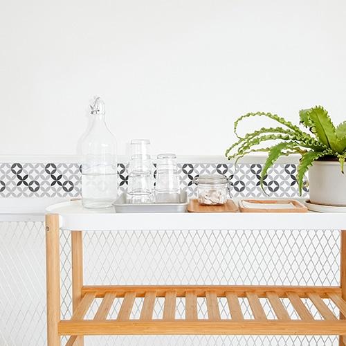 Autocollant céramique noir et blanc pour décoration de carrelage blanc de salle à manger
