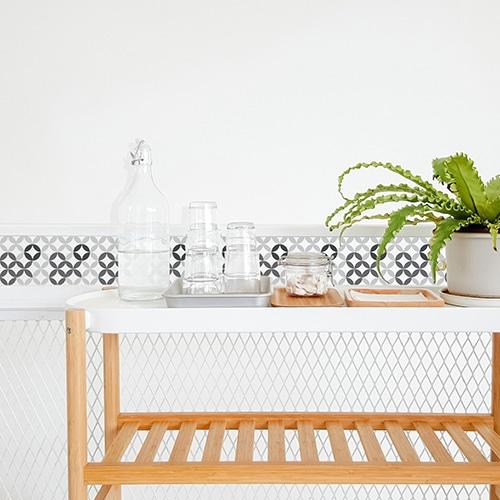 Stickers autocollant déco carrelage céramique noir et blanc pour salle à manger