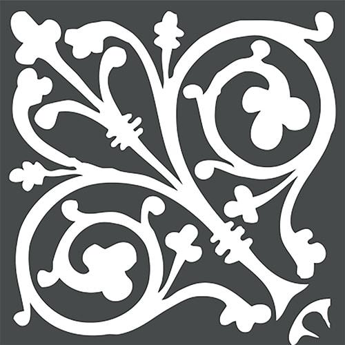 Stickers autocollant ciment baroque gris foncé et blanc pour décoration carrelage