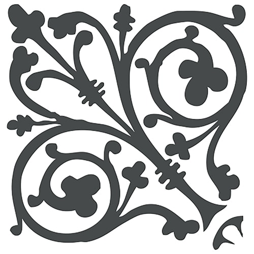 Stickers autocollant ciment baroque décoration gris foncé et blanc pour carrelage