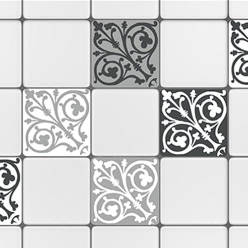 Adhésif décoration carrelage ciment baroque gris foncé et blanc pour cuisine