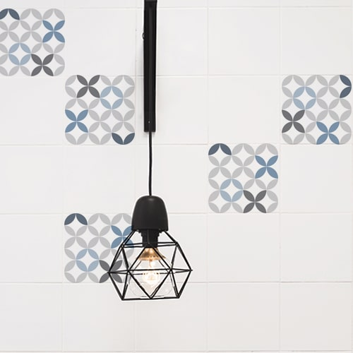 Adhésif céramique bleu pour décoration de carrelage blanc pour cuisine