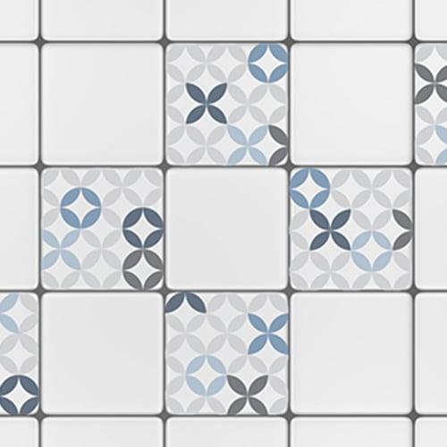 Sticker autocollant céramique bleu pour décoration de carrelage blanc de cuisine