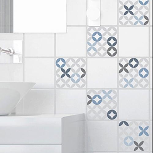 Adhésif déco carrelage céramique bleu pour salle de bain moderne