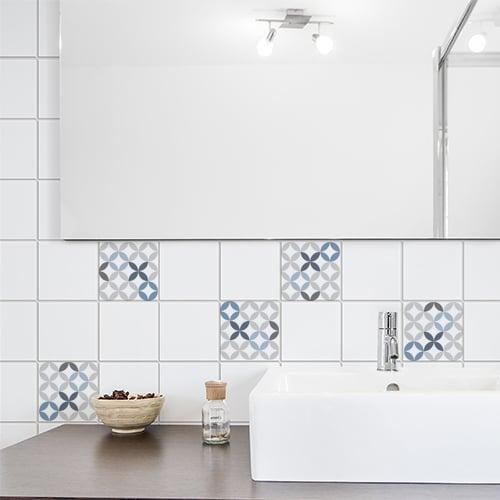 Autocollant céramique bleu pour déco carrelage de salle de bain moderne