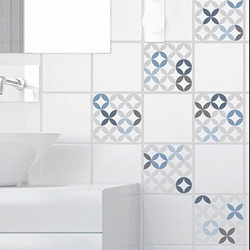 Adhésif céramique bleu pour carrelage de salle de bain