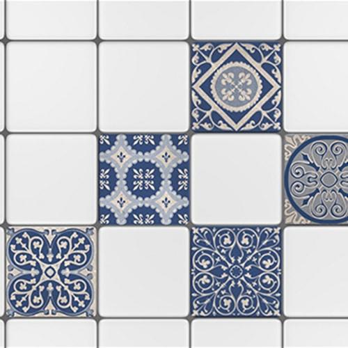 Sticker autocollant décoration carrelage tomar bleu et beige pour cuisine