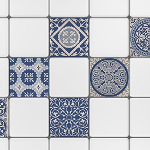 Adhésif tomar bleu et beige pour carrelage de salle de bain