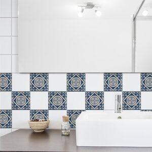 Autocollant bleu et beige tomar pour déco de carrelage de salle de bain