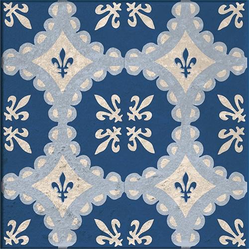 Sticker adhésif décoration beige et bleu tomar pour carrelage