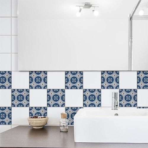 Sticker autocollant beige et bleu tomar déco pour carrelage de salle de bain
