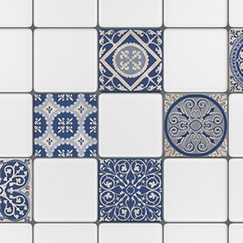Autocollant beige et bleu tomar décoration pour carrelage pour salle de bain