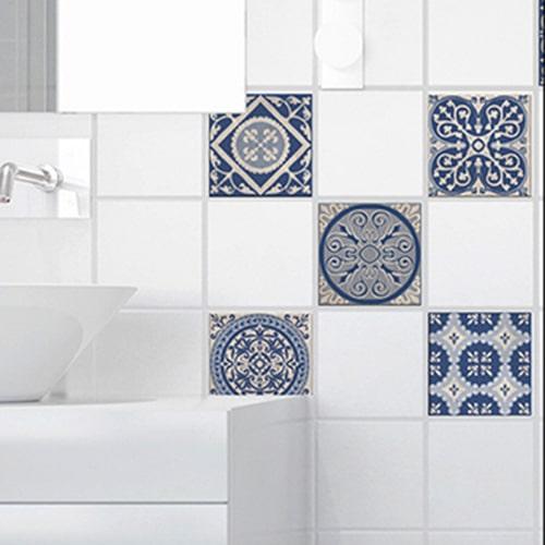 Autocollant tomar beige et bleu pour décoration de carrelage pour salle de bain