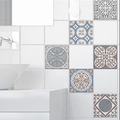 Autocollant décoration baixa déco beige, bleu et marron pour carrelage de salle de bain moderne