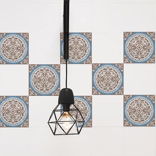 Autocollant décoration Baixa marron et bleu pour carrelage de cuisine