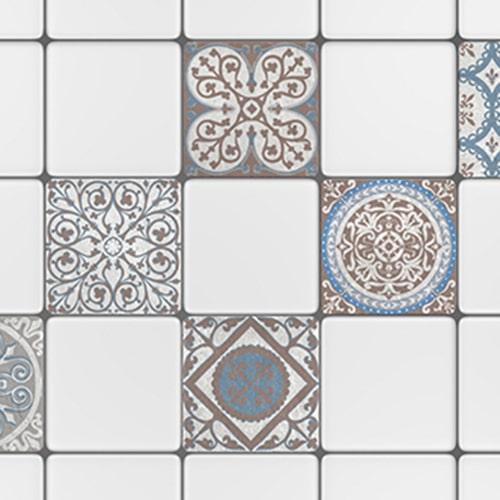 Adhésif décoration carrelage Baixa marron et bleu pour carreaux blanc de cuisine