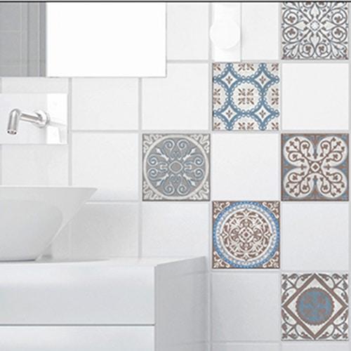 Stickers autocollant marron et bleu pour carrelage décoration d'intérieur Baixa de salle de bain