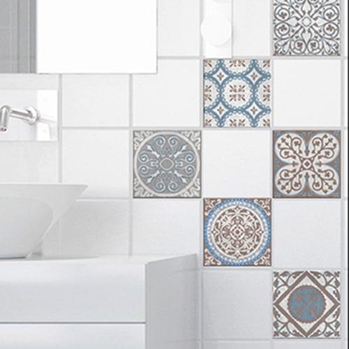Adhésif Baixa marron et bleu pour déco d'intérieur de carrelage de salle de bain