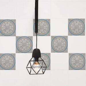 Adhésif décoration Elvas gris et bleu pour carrelage de cuisine