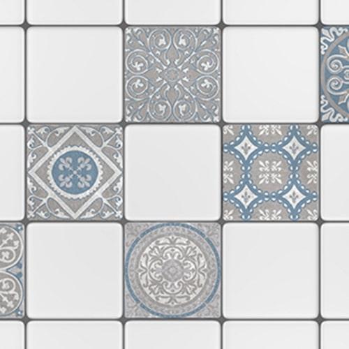 Stickers adhésif décoration d'intérieur pour carrelage Elvas bleu et gris en cuisine