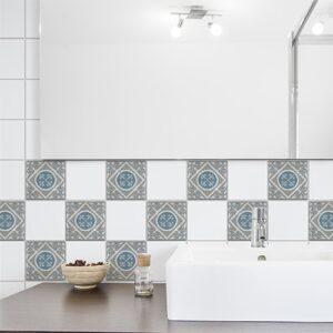 Adhésif Elvas bleu et gris pour carrelage blanc déco d'intérieur de salle de bain