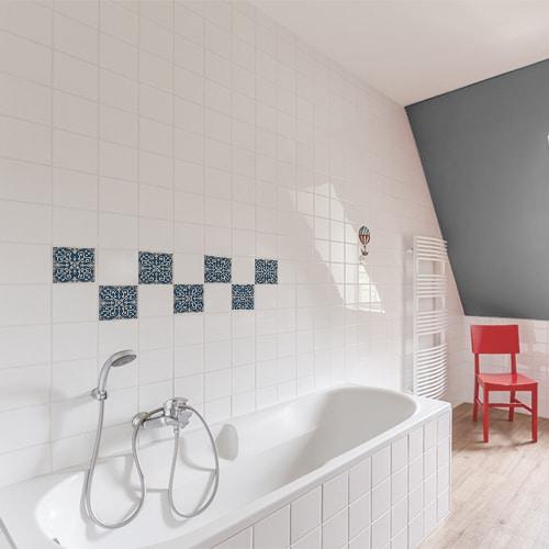 Autocollant déco Acores bleu et blanc de carrelage d'intérieur blanc de salle de bain