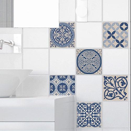 Adhésif décoration Acores bleu et blanc pour carrelage d'intérieur blanc de salle de bain moderne