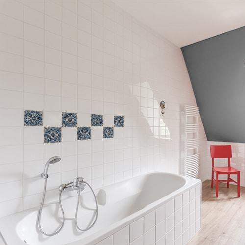 Stickers adhésif déco Acores bleu et blanc pour carrelage d'intérieur blanc de salle de bain