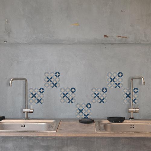 Autocollant Acores bleu et blanc décoration pour carrelage en béton gris de cuisine