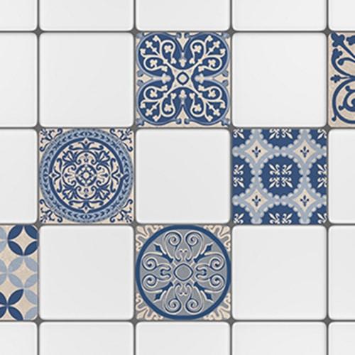 Stickers autocollant bleu et blanc décoration pour carrelage Acores blanc de cuisine