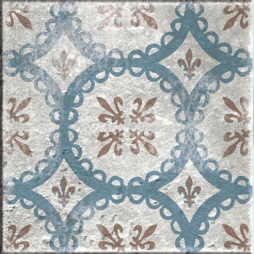 Stickers bleu et marron autocollant marvao pour décoration de carrelage