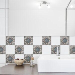 Adhésif déco Marvao bleu et marron pour carrelage blanc de salle de bain moderne