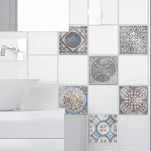 Stickers autocollant Marvao bleu et marron décoration d'intérieur pour carrelage blanc de salle de bain moderne