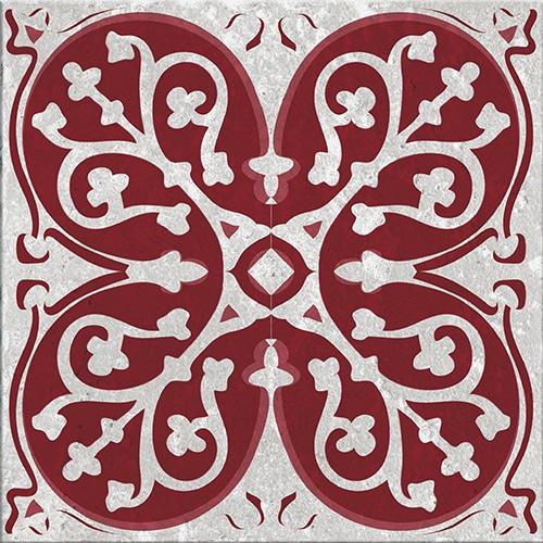 Stickers autocollant gris et rouge Olhao décoration d'intérieur pour carrelage
