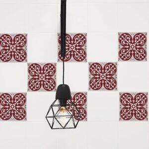 Autocollant déco intérieur gris et rouge Olhao pour carrelage blanc de cuisine