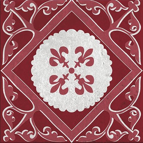 Stickers adhésif Olhao décoration d'intérieur de carrelage gris et rouge