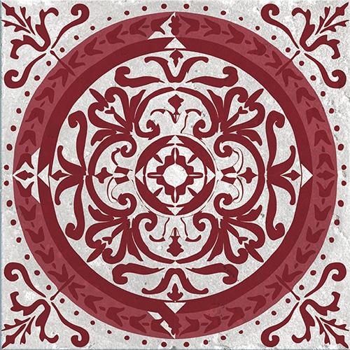 Stickers adhésif décoration d'intérieur pour carrelage Olhao rouge et gris