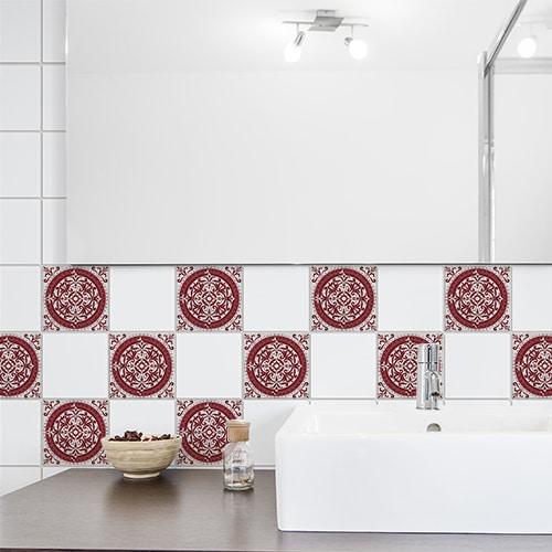Adhésif déco pour carrelage Olhao rouge et gris de salle de bain moderne