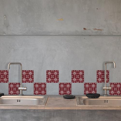 Autocollant pour carrelage déco d'intérieur Olhao rouge et gris pour cuisine en béton grise