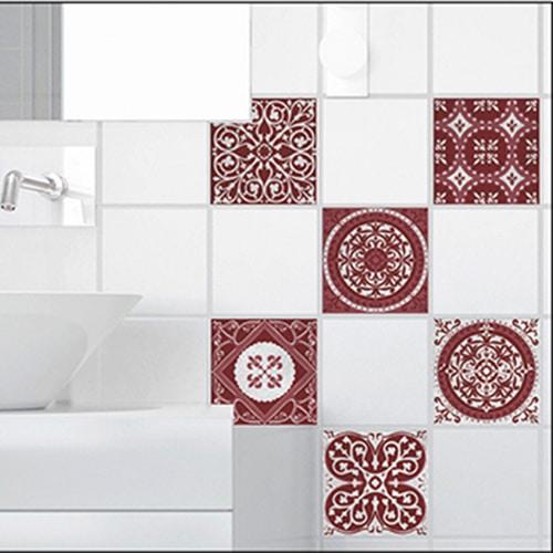 Stickers autocollant décoration Olhao rouge et gris pour carrelage blanc de salle de bain