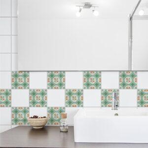 Adhésif déco marron et vert Evora pour carrelage blanc de salle de bain moderne